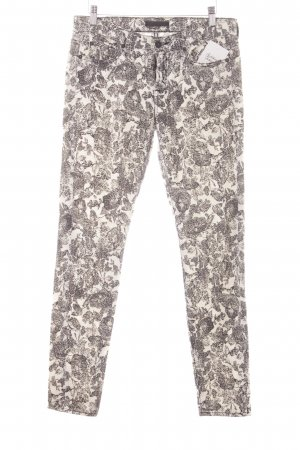 7 For All Mankind Drainpipe Trousers natural white-black flower pattern