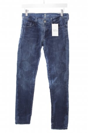 7 For All Mankind Röhrenjeans blau-dunkelblau Used-Optik