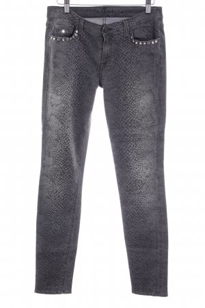 7 For All Mankind Vaquero pitillo gris-color plata estampado de animales