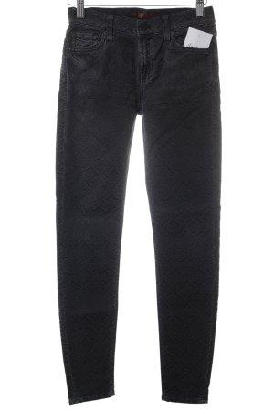 7 For All Mankind Röhrenjeans schwarz-dunkelgrau Aztekenmuster Jeans-Optik