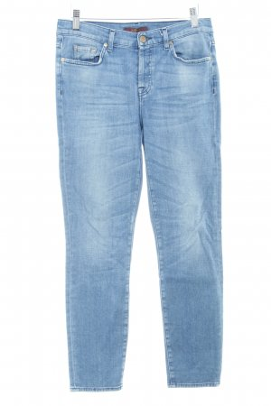 7 For All Mankind Röhrenjeans stahlblau Washed-Optik