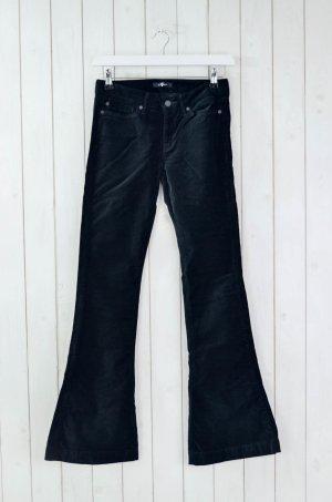 7 For All Mankind Seven Jeans Damen Schlaghose Hose Schwarz Samt Baumwolle Gr.28