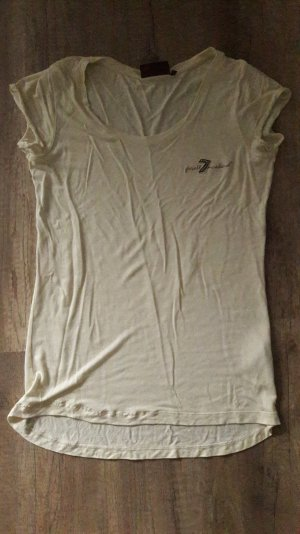 7 for all Mankind Shirt T-Shirt Basic Offwhite Glitzer Applikation S