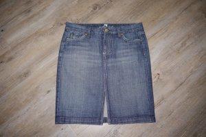 7 For All Mankind Jupe en jeans bleu coton