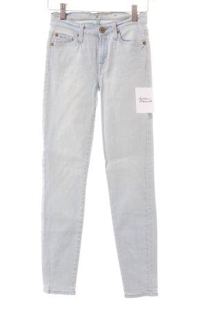 7 For All Mankind Skinny Jeans blassblau Logo-Applikation aus Leder
