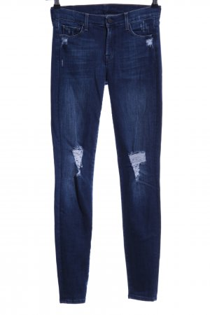 7 For All Mankind Skinny Jeans dark blue-slate-gray casual look