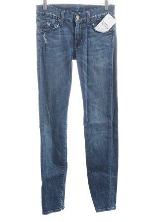 7 For All Mankind Skinny Jeans dunkelblau Washed-Optik