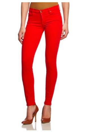 7 for all mankind skinny jeans in rot mit Swarovskisteinchen besetzt