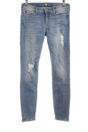 7 For All Mankind Skinny Jeans kornblumenblau Destroy-Optik