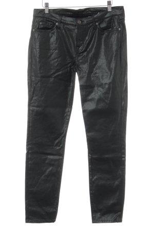 7 For All Mankind Skinny Jeans schwarz-dunkelgrün Glanz-Optik