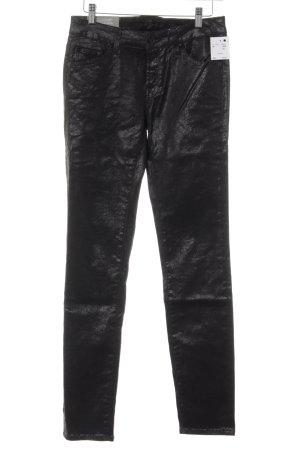 7 For All Mankind Skinny Jeans schwarz florales Muster Glanz-Optik
