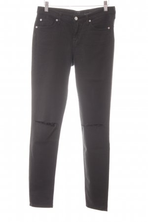 7 For All Mankind Skinny Jeans schwarz Webmuster Casual-Look
