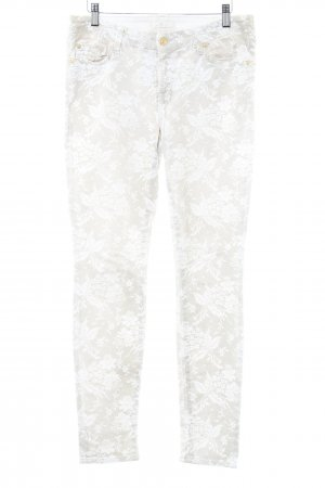 7 For All Mankind Skinny Jeans weiß-beige florales Muster Casual-Look