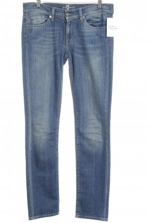 7 For All Mankind Slim Jeans stahlblau Bleached-Optik