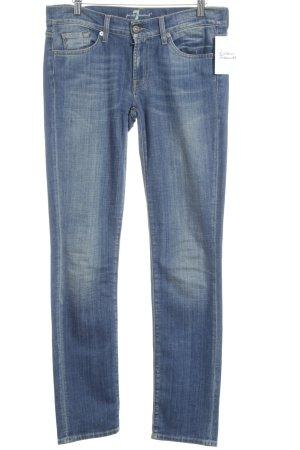 7 For All Mankind Slim Jeans stahlblau Bleached-Optik