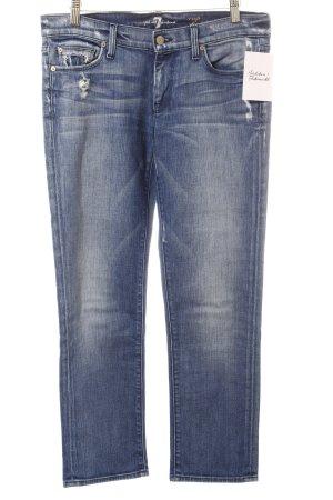 7 For All Mankind Straight-Leg Jeans blau-wollweiß Used-Optik