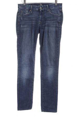7 For All Mankind Straight-Leg Jeans blau-wollweiß Washed-Optik