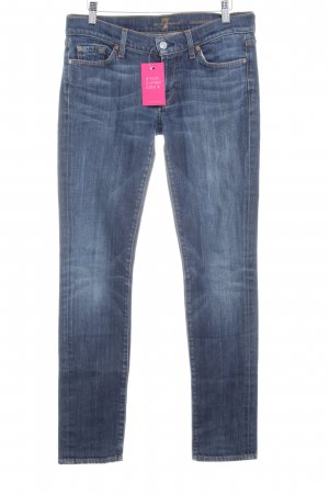 7 For All Mankind Straight-Leg Jeans dunkelblau Bleached-Optik