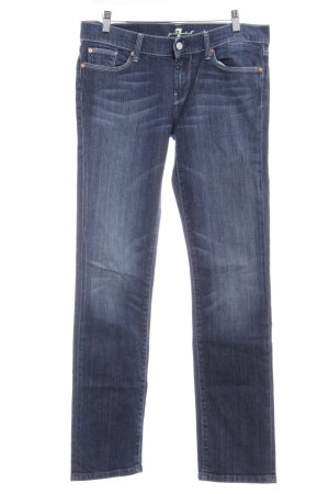 7 For All Mankind Straight-Leg Jeans dunkelblau-graublau Washed-Optik