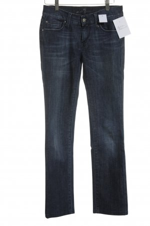 7 For All Mankind Straight-Leg Jeans dunkelblau-himmelblau Street-Fashion-Look