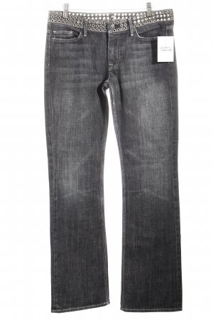 7 For All Mankind Straight-Leg Jeans dunkelgrau Punk-Look