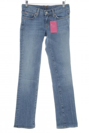 7 For All Mankind Straight-Leg Jeans kornblumenblau-stahlblau Washed-Optik