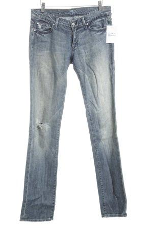 7 For All Mankind Straight-Leg Jeans kornblumenblau Used-Optik