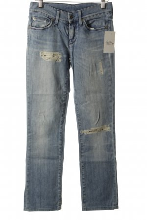 7 For All Mankind Straight-Leg Jeans kornblumenblau-wollweiß Used-Optik