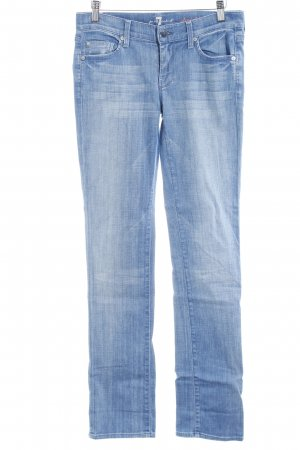 7 For All Mankind Vaquero rectos azul aciano-blanco puro look lavado