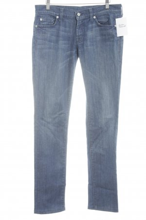 7 For All Mankind Straight Leg Jeans steel blue-dark blue street-fashion look