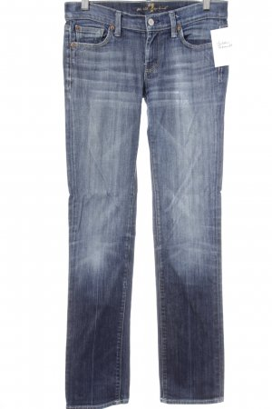 7 For All Mankind Straight-Leg Jeans stahlblau Washed-Optik