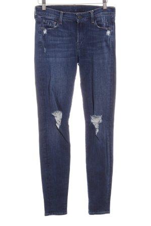 7 For All Mankind Stretch Jeans stahlblau-dunkelblau Destroy-Optik