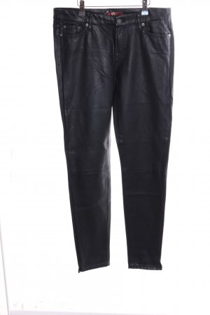 7 For All Mankind Stretch Trousers black wet-look
