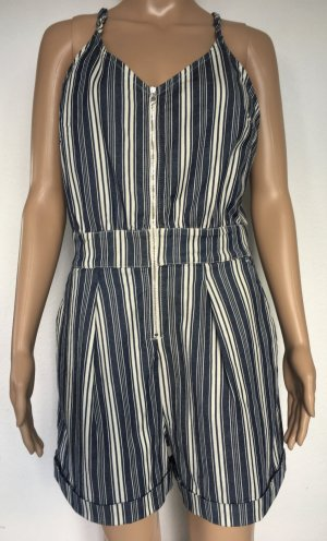 7 For All Mankind, Striped Denim Short Romper, Indigo Blue/White, M, neu, € 300,-