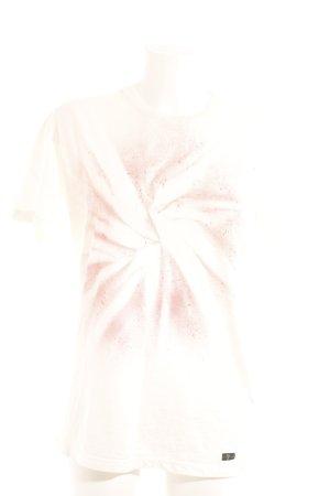 7 For All Mankind Camiseta crema-rojo estampado con puntos de colores
