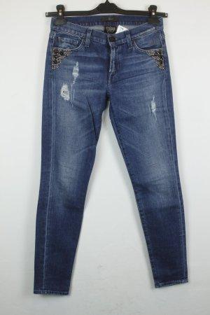 7 For All Mankind x HTC Jeans Studded Skinny Gr. 26 blau used look Steine Nieten
