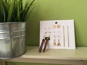 7 Paar Ohrringe Set von H&M Gold und rot OVP , Quastenohrringe