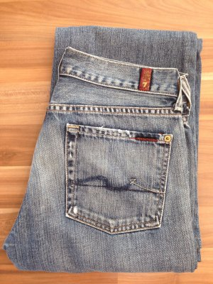 7 Seven for all Mankind Jeans denim hellblau destroyed Löcher Schlag Flare 28