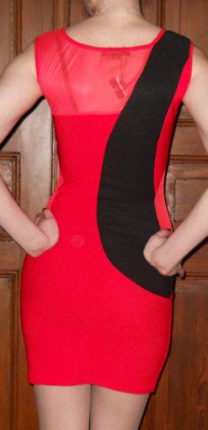 70`er Stretch Minikleid rot schwarz + Chiffon Gr. S 36 Neu