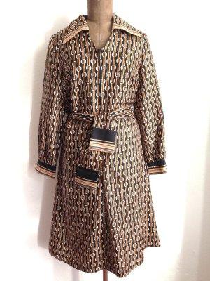 70'ies Vintage Midi Kleid mit grafischem Muster, Gr. 40/42