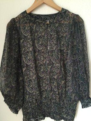 70's Style Seiden Tunika Paisley Muster
