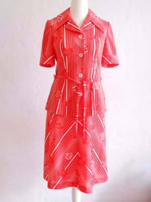 Vintage Twin Set neon red-white polyester
