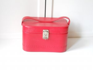 Vintage Cosmeticabox rood-wit