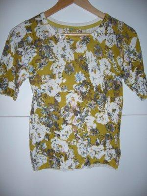 70er Jahre Pullover 1/2 Ärmel florales Muster oker/weiß/hellblau/rosa H&M XS 34