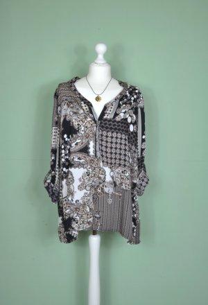 70er Jahre Retro Bluse / Tunika mit Paisley Muster und Blumen