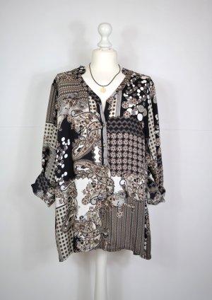 70er Jahre Retro Hippie Bluse / Tunika mit Paisley Muster und Blumen