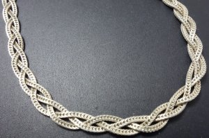 70er Modern Art Schlangen Sterling 925 Silber Vintage Designer Kette Collier geflochten