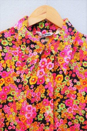70er Spitzkragen Bluse mit Neonblümchen