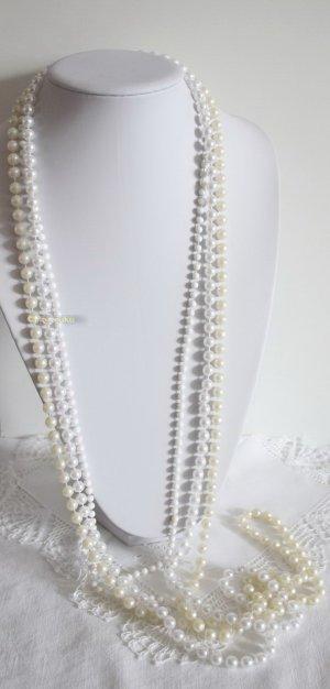 70er und 80er Jahre 3 Endlosketten Perlenketten weiss