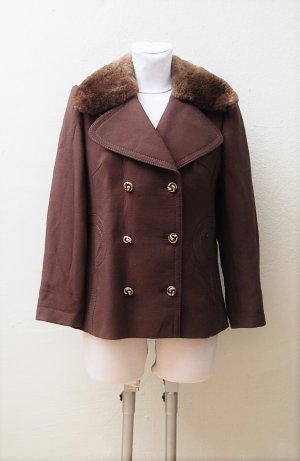 70er Vintage Caban-Jacke mit Echtpelz Kragen
